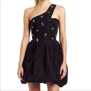 BCBGMaxAzria Black Taffeta One Shoulder Dress
